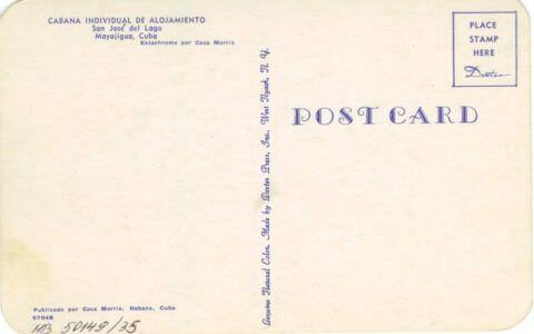 78. Карточка почтовая. Вилла Сан Хосе дэль Лаго. Оборотная сторона. Гавана. Кон. 1950-х гг.