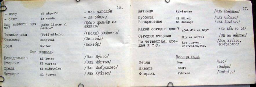 Русско-испанский разговорник, страницы 46-47