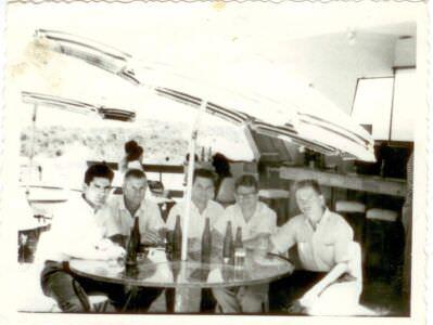 25. Шарапов Виктор Фролович (1-й справа) с коллегами в кубинском кафе. Республика Куба. 1961-1962 гг.