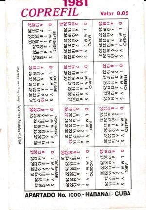 143. Календарик на 1981 год. Второй съезд коммунистической партии Кубы в 1980 году. Оборот.