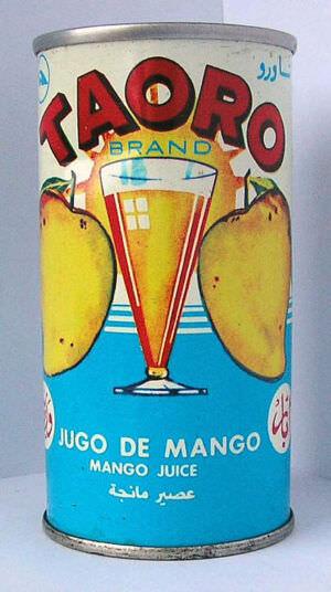 Банка из-под мангового сока TAORO. 1 ракурс.