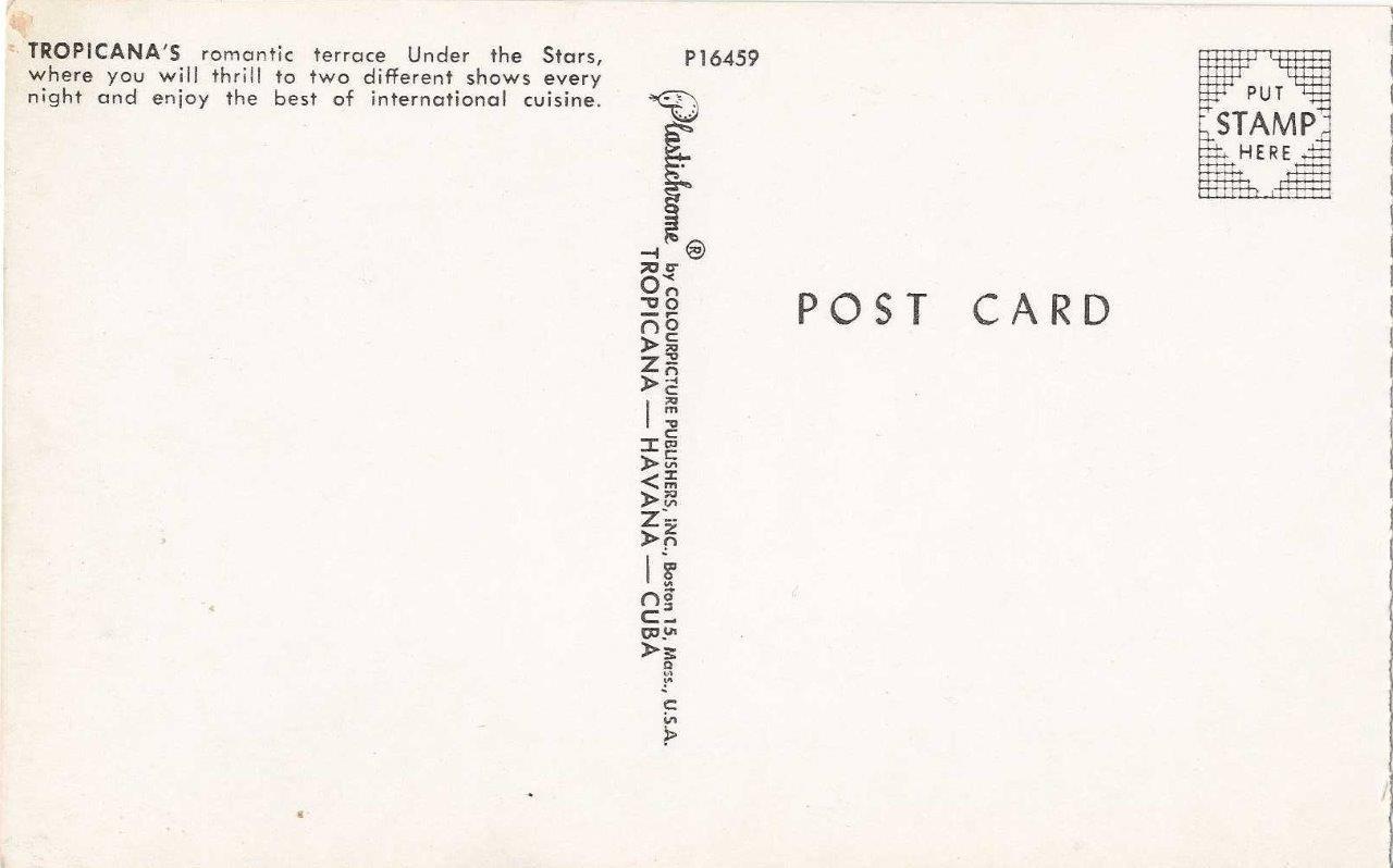 119. Буклет «Кабаре Тропикана», открытка 5, обратная сторона
