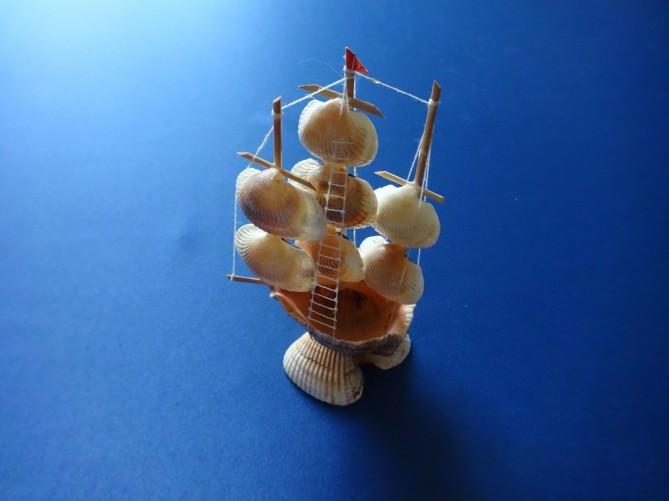 Парусник из мелких ракушек
