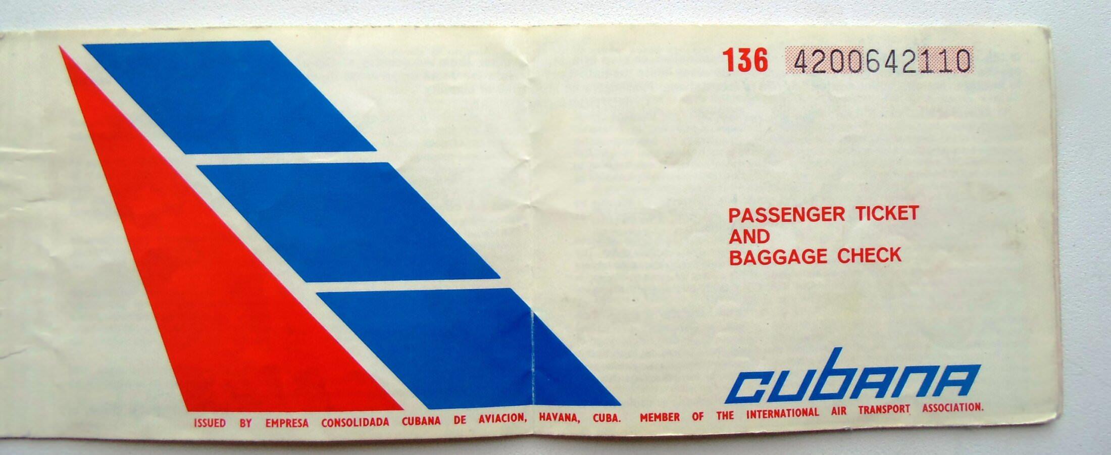 1986. Авиабилеты на рейс «Москва-Гавана». Титул.