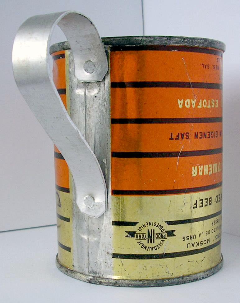Кружка из из банки из-под советской тушенки. 1 ракурс.