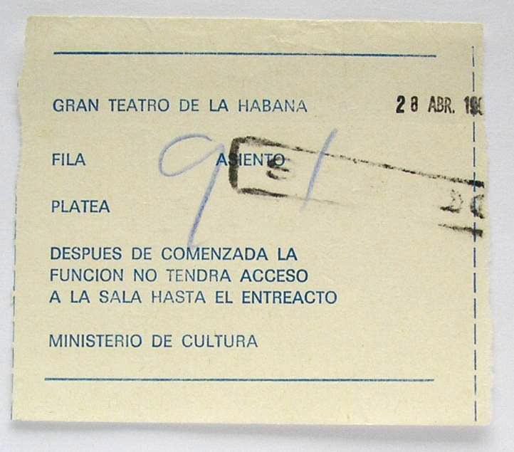 144. 1990-04-28. Билет в Gran Teatro de la Habana. Место 91.