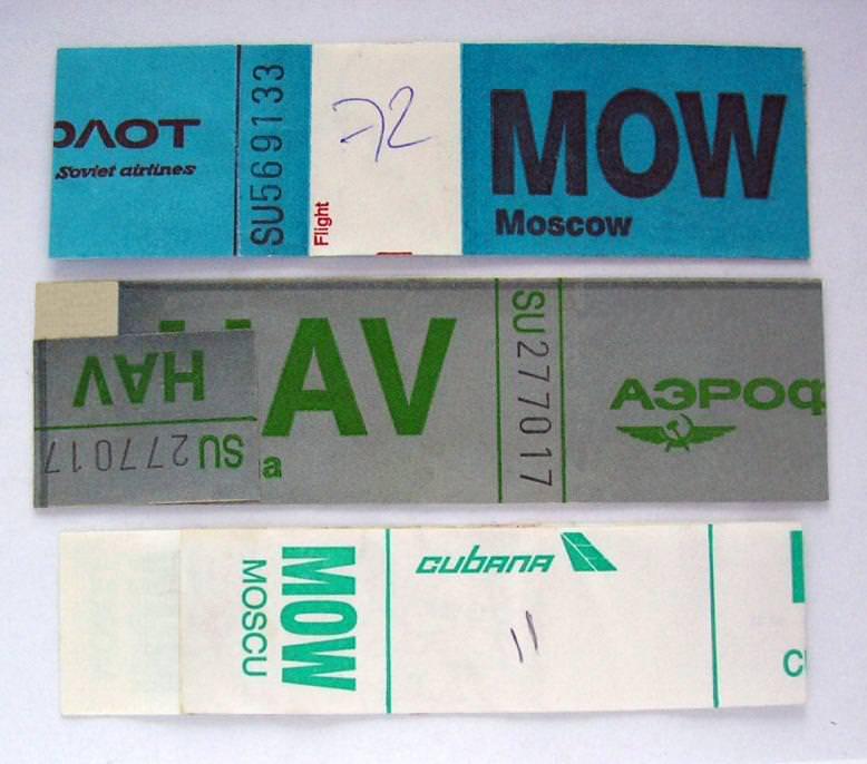 1988-1991. Маркировка багажа на рейсах Гавана-Москва (авиакомпании «Аэрофлот» и «Cubana»). Титул.