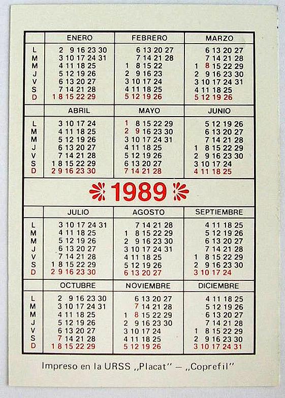 1989. Календарь. Оборот.